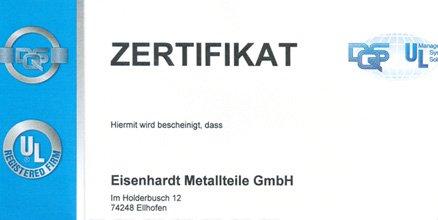 Zertifiziert – Eisenhardt Metallteile GmbH